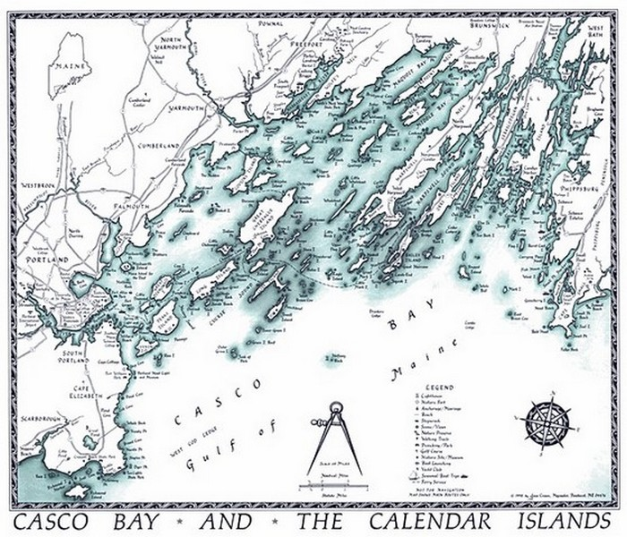 Maps Charts - Antique map of maine